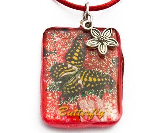 Butterfly necklace daisy chain charm insect garden summer ornaments Pendant Earrings 25 x 34 mm