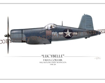 F4U Corsair - Pappy Boyington Black Sheep Squadron WW2 Aviation Warbird Art Print