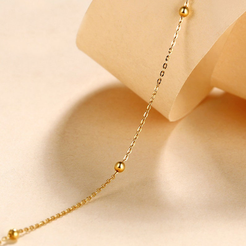 18k Solid yellow Rose Gold Ankle Anklet Chain Dainty Minimal Minimalist Simple BFF bridesmaid Gift Bridal shower Summer Gift