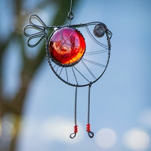 Unique Gift for Her Window Decor Colorful Window Light Catcher Bird Lover Gift Handmade Wire Bird Suncatcher Bird Art Bird Decor