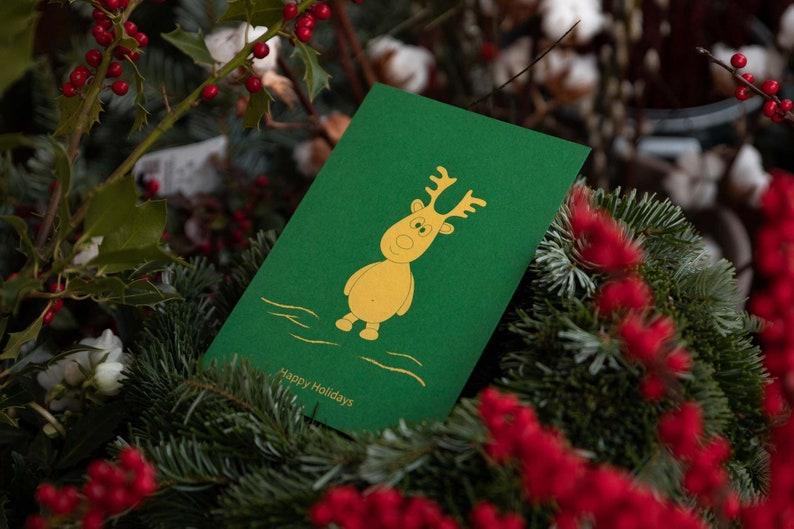 Reindeer Moritz  Happy Holidays Green