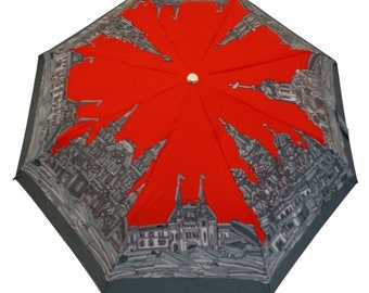 Red Square Folding Umbrella (unique design, automatic, three-folding, 27 cm length)
