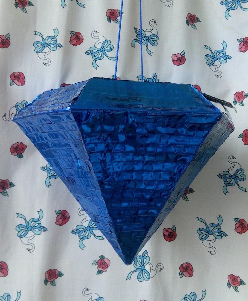 Designer pinata Engagement pinata Proposal pinata Metallic Foil diamond Blue diamond pinata Valentine\u2019s day pinata Milestone birthday