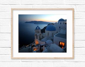 Santorini Sunset Greece Photography Digital Print