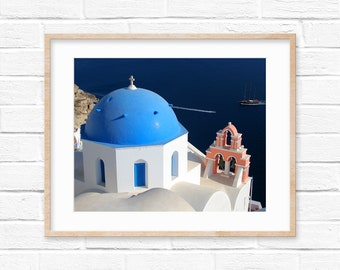 Santorini Church Dome Bell Greece Photography Digital Print