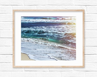 Beach Waves Sunset Fine Art Wall Digital Print Photography