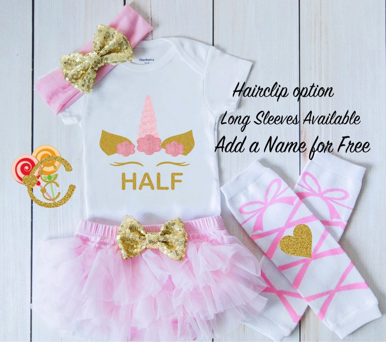18a9d5d3f Half Birthday Onesie 1/2 Birthday Girl Outfit Pink and Gold | Etsy