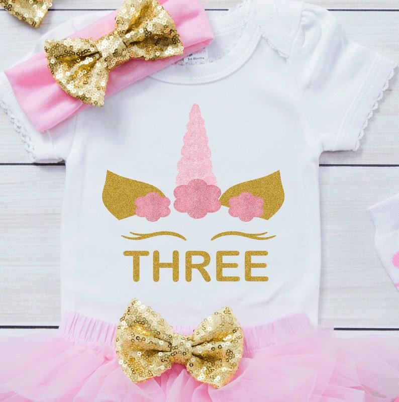 Custom Shirt 3rd Birthday Outfit For Girl Unicorn Themed Birthday Outfit Third Birthday Outfit Girl Personalized Unicorn Birthday Outfit