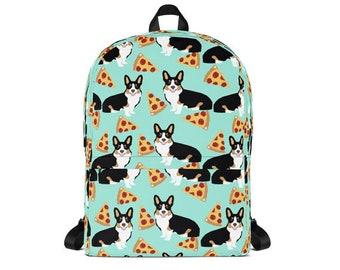 cdec321b6059 Tri Corgi Pizza Backpack - tricolored corgi pizza design