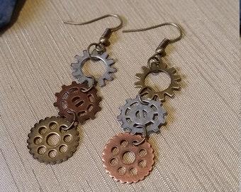 Cute Steampunk Gear Earrings