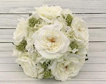 White rose bouquet etsy white wedding bouquet rose bouquet bride bouquet silk flower bouquet white rose bouquet wedding bouquet mightylinksfo