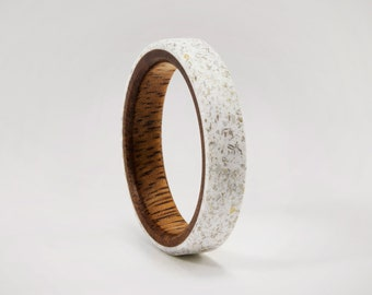 White Marble Ring with Inner Wood, Bronze Sparkles, Mens Wood Wedding Ring, Solid Hardwood Engagement Ring, Mens Rustic Marble, Handmade