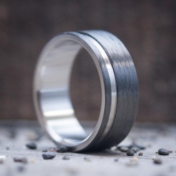 Endless Line Love Gift for him Beveled Edges Mens Carbon Fiber Wedding Ring Inner Titanium Handmade Jewelry Mens Engagement Band
