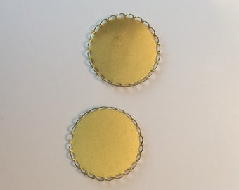 Lace edge round cabochon settings - 40mm - 2 pieces