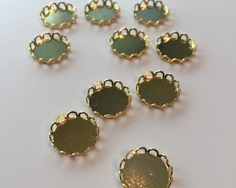 Lace edge round cabochon settings - 16mm - 10, 20, 50, or 100 pieces
