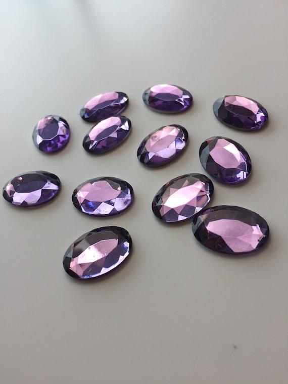 Vintage Lucite Purple Cabochons 10