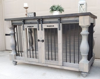 The fine rustic_ Dog kennel, Rustic Crate Furniture, Free shipping.  BEST Easy Lock, Custom Double Dog kennel