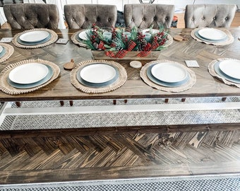 Herringbone farmhouse table with Bench / customizable / dining table