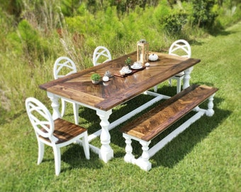 6PC Set of Herringbone dining table Farmhouse rustic dining set