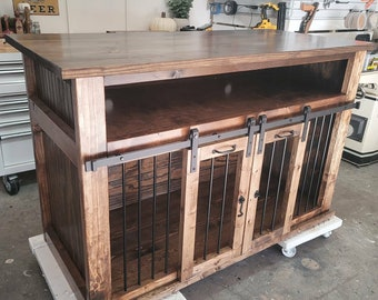 SALE_BEST Easy Lock Kennel THE FINE RUSTIC Custom dog crate Barn door Entertainment center cabinet