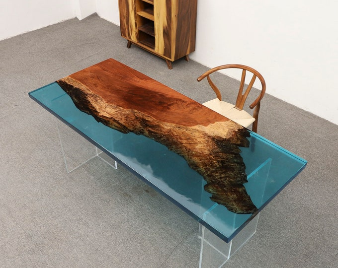 """72""""x30"""" Dark Brazilian Rose Wood Clear Blue Live edge epoxy Dining Table, Ultra Clear Epoxy Table"""