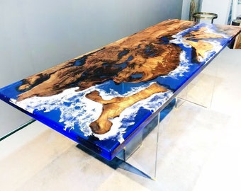 Made to Order Epoxy Wood Resin Black, White, Clear Table, Epoxy Walnut Dining Table, Ultra Clear Epoxy Table