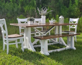 6pc Farmhouse Table Set,Dining table set, Custom table, Rustic table, Dining Set