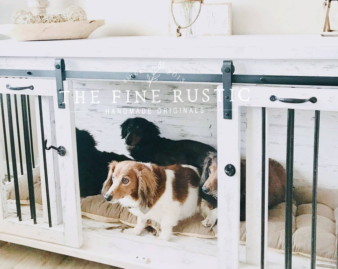 Dog kennel, rustic dog crate furniture, Free Shipping, BEST Easy Lock Kennel / Custom Large Double Dog kennel/ The Fine Rustic