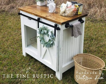 Barn sliding door Bar, Coffee station, Entertainment center TV stand, Buffet table, Farmhouse table