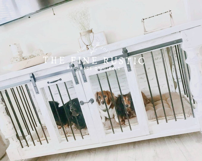 BEST Easy Lock Kennel. Custom Large Double Dog kennel/Double dog crate/ Free shipping