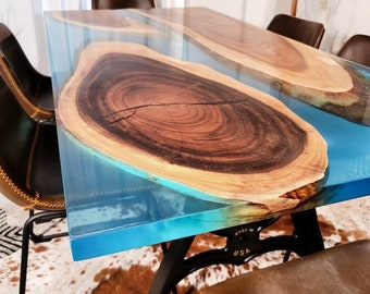 Ready to ship in 14days Live edge epoxy resin table Available tabletop Blue, Teal walnut dining tabletop only