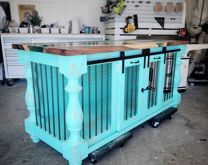 BEST Easy Lock Kennel Custom dog crate_Epoxy Resin tabletop_ Barn door Entertainment center cabinet_The Fine Rustic