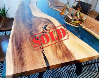 SOLD - Made to Order Epoxy Wood Resin Black, White, Clear Table, Epoxy Walnut Dining Table, Ultra Clear Epoxy Table