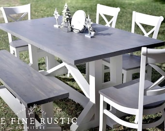 Farmhouse Rustic Table and Bench