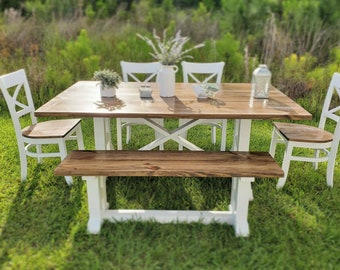 6pc Custom Farmhouse Rustic Dining Table Set