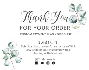 Custom Payment Plan/Deposit/Discount