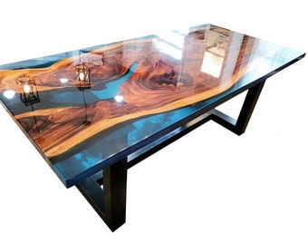 SALE - Live edge Epoxy tables, Ready to ship in 14 Days, Dining tables
