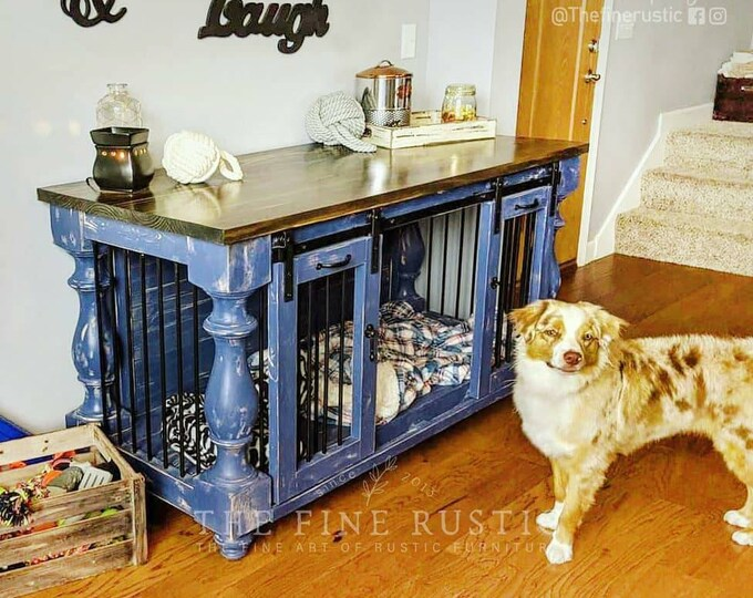 THE FINE RUSTIC _BEST Easy Lock Kennel. Custom Large Double Dog kennel Furniture