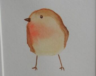 Baby robin/watercolour/art/original/babyroom/birthdaygift/nature/A5 framed