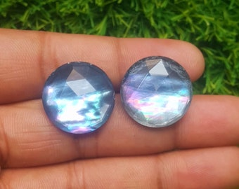 14x10x5.5 MM Size Sapphire Crystal Doublet Cabochons Natural Sapphire Crystal Doublet Oval Shape Faceted Cabochon C5414 AAA Quality