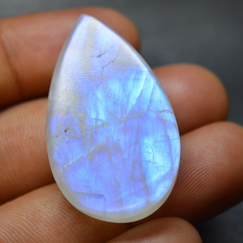 4.50 CTS Loose Gemstone AAA 13X9X5 MM Smooth Cabochon Blue Flash RainbowMoonstone Natural Rainbow Moonstone Pear Designer Cabochon