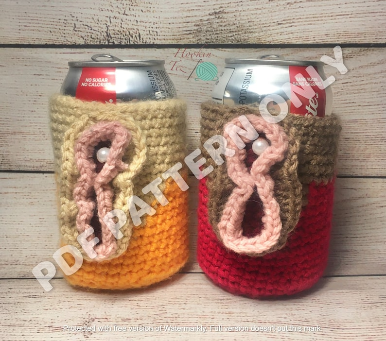 Humorous Pewny Peter Penis Can Cozy Cover Gag Flip Top Gift LGBTQ Funny Nip Slip Crochet Cooter PATTERN ONLY!! Cozy Family