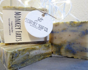 Monkey Farts Natural Vegan Handcrafted Artisan Cold Process Bar Soap