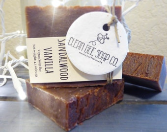 Sandalwood Vanilla Vegan Handcrafted Cold Process Artisan Bar Soap