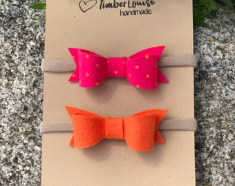 Mini Polka Dot  Bow Headband, Classic Bow Headband, Wool Felt Bow Headbands,Baby, Girls, Newborn, Set of 2, in Hot Pink and Orange