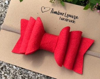 Large Bow Headband, Baby Headband, Baby Headband Flower, Felt Flower Headband, Newborn Headband, Baby Headband Bows, in Coral