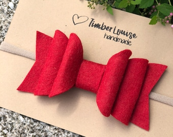 Large Bow Headband, Baby Headband, Baby Headband Flower, Felt Flower Headband, Newborn Headband, Baby Headband Bows, in Red