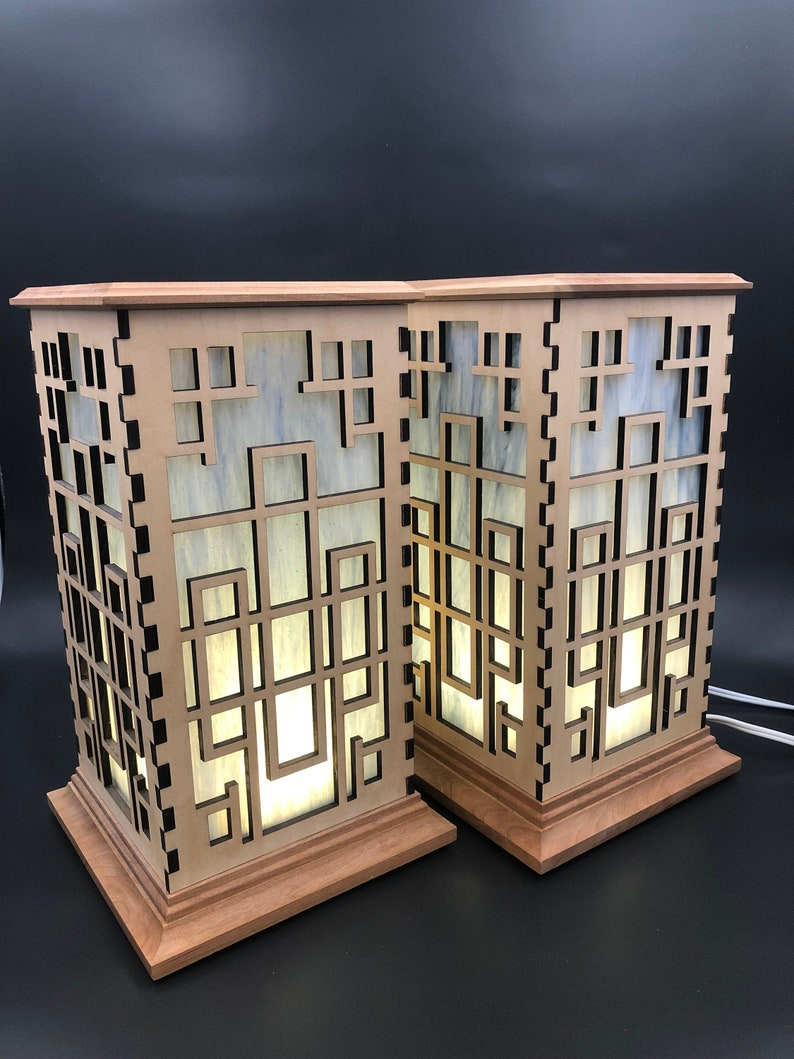 Temple Wood Shoji Lamps w/Blue Opaline Glass Set of 2 / LED image 0