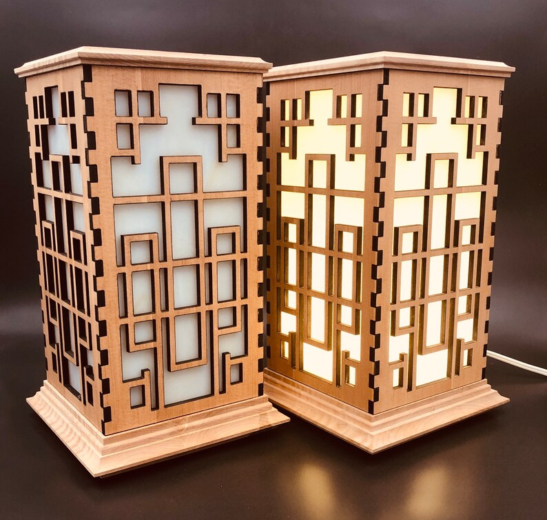 Temple Wood Shoji Lamps w/White Panels Set of 2 / LED Table image 0