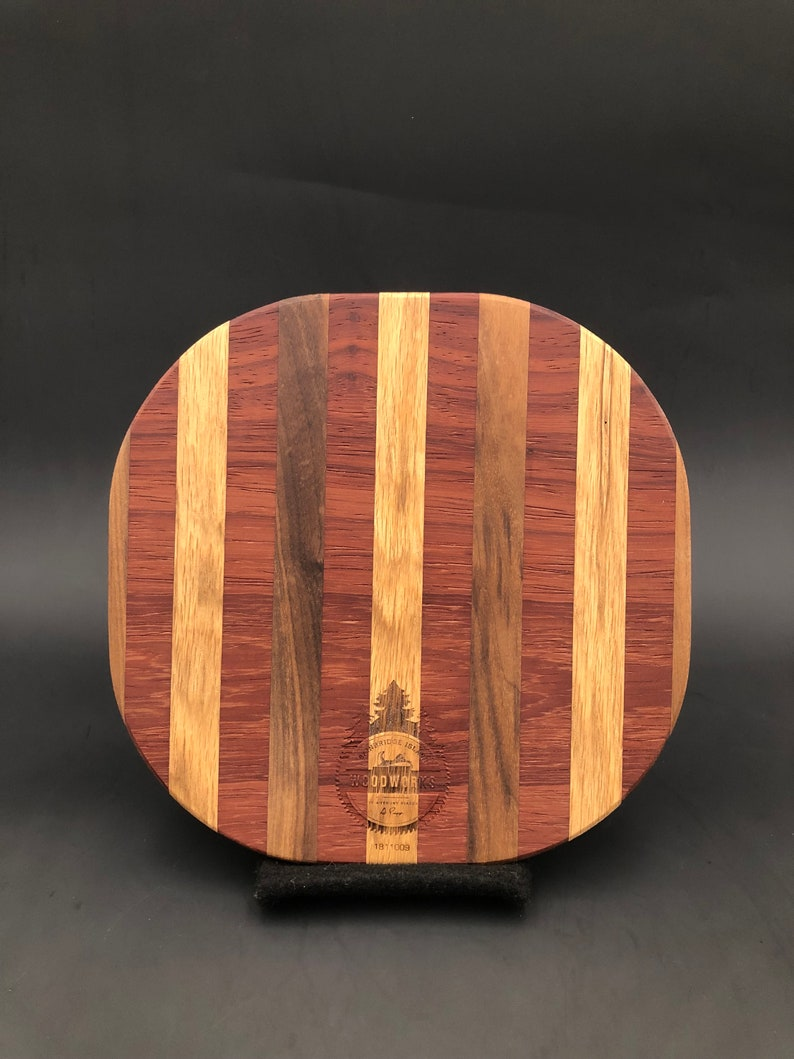 Rounded Square Handmade Artisan Wood Cutting & Serving Board / image 0